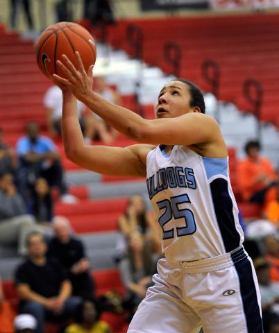 Centennial's Karina Brandon shoots the ball against Bishop Gorman during the Sunset Region girls basketball championship game at Arbor View High School in Las Vegas on Friday, Feb. 20, 2015. (Davi ...