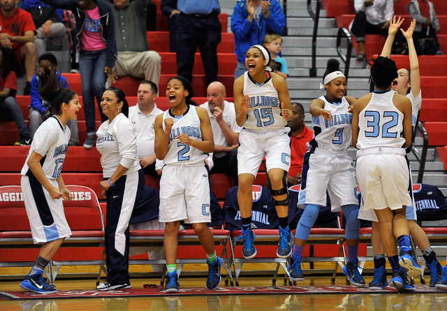 Centennial's bench cheers during the Sunset Region girls basketball championship game against Bishop Gorman at Arbor View High School in Las Vegas on Friday, Feb. 20, 2015. (David Becker/Las Vegas ...