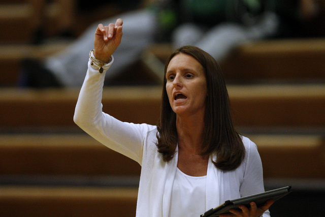 Rancho head coach Ashley Vossen calls a play during their game against Green Valley Tuesday, Feb. 3, 2015 at Green Valley. Green Valley won 44-38.  (Sam Morris/Las Vegas Review-Journal)
