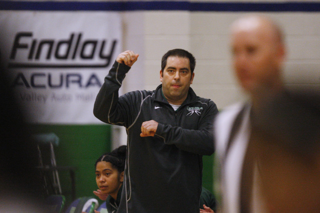 Green Valley head coach Eric Johnson reacts to a successful play against Rancho during their game Tuesday, Feb. 3, 2015 at Green Valley. Green Valley won 44-38.  (Sam Morris/Las Vegas Review-Journal)