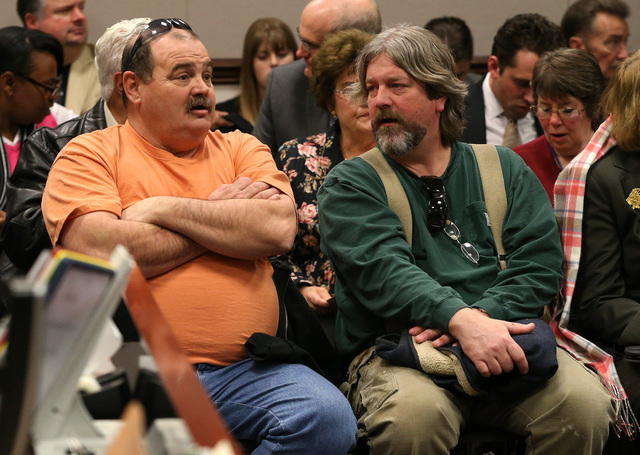 Carpenter Leroy Fulton, left, and electrical worker Gus Wallen are among nearly 400 people at a Senate hearing at the Legislative Building in Carson City, Nev., on Wednesday, Feb. 4, 2015. There w ...