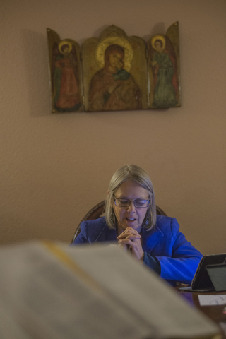 Katrina Steiner says a prayer during a lectio divina session at the Stillpoint Center for Spiritual Development in Las Vegas. Stillpoint offers a gathering place for individuals who want to work o ...