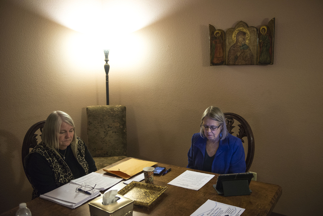 Jan Hill and Katrina Steiner say prayers during a Lectio Divina session at the Stillpoint Center for Spiritual Development in Las Vegas. Stillpoint offers a gathering place for individuals who wan ...
