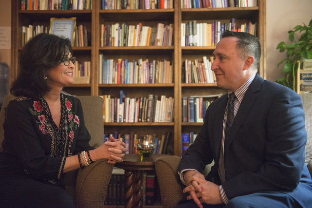 Delise Sartini, president and spiritual director, and Brian Neely, executive director, speak at the Stillpoint Center for Spiritual Development in Las Vegas. Stillpoint offers a gathering place fo ...