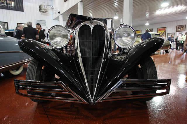 the unique heart shaped grill of a 1934 ford brewster town car is seen during