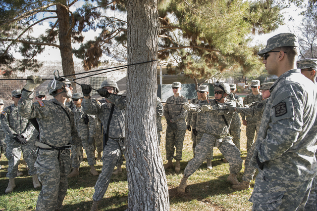ROTC cadets learn new rope skills during a rope-bridge leadership drill at the UNLV practice football field on the UNLV campus in Las Vegas on Friday, Feb. 6, 2015. (Martin S. Fuentes/Las Vegas Re ...