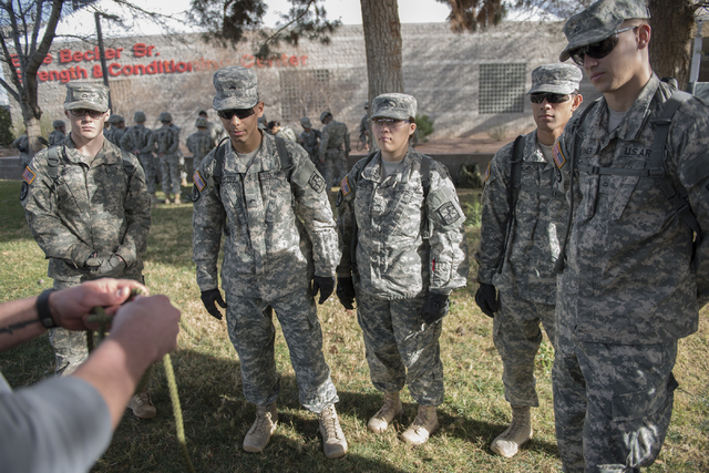 ROTC cadets learn new rope skills during a rope-bridge leadership drill at the UNLV practice football field on the UNLV campus in Las Vegas on Friday Feb. 6, 2015. (Martin S. Fuentes/Las Vegas Rev ...