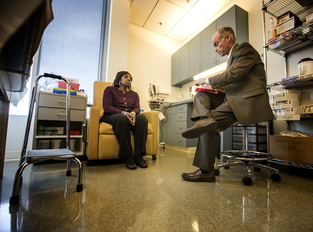 Dr. Charles Bernick, right, Associate Medical Director, Cleveland Clinic Lou Ruvo Center for Brain Health conducts a test on patient Patricia Polk on Thursday, Feb. 5, 2015. (Jeff Scheid/Las Vegas ...
