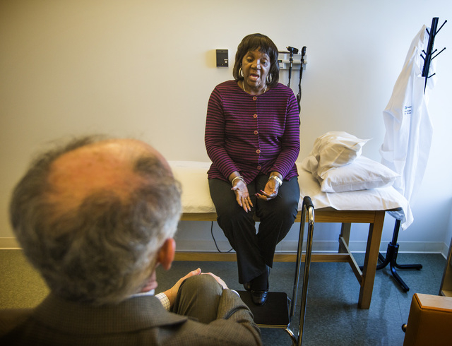 Dr. Charles Bernick, left, Associate Medical Director, Cleveland Clinic Lou Ruvo Center for Brain Health conducts a test on patient Patricia Polk on Thursday, Feb. 5, 2015. (Jeff Scheid/Las Vegas  ...