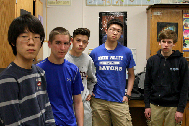 Jake Lee,left, Thomas Conibear, Alexander Gibson, David Li and Corbin Smart of Green Valley High School are one of four Las Vegas teams entering a safe-cracking competition in Israel next month sp ...