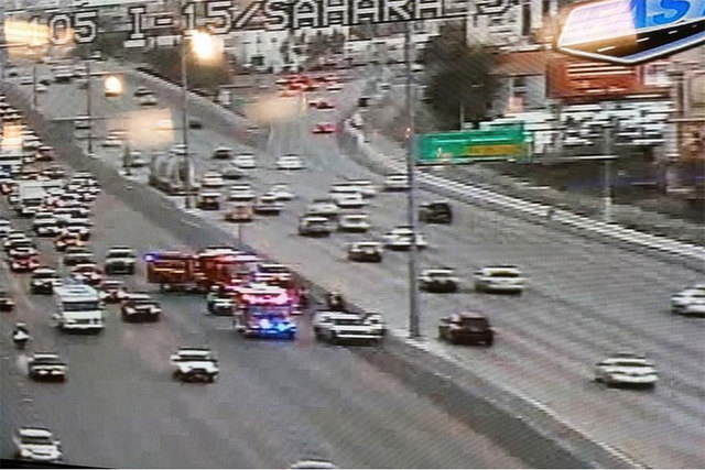 An accident is blocking two lanes of traffic on southbound Interstate 15 near Sahara Avenue Thursday morning, Feb. 19, 2015. (Courtesy/RTC FAST Cameras)
