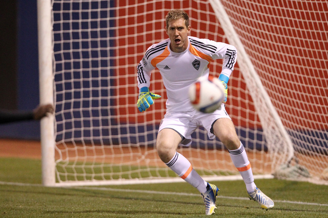 Colorado's goalkeeper Clint Irwin (1) reacts to a shot to his goal during their Major League Soccer game against San Jose at Cashman Field in Las Vegas Sunday, Feb. 15, 2015. San Jose won 2-0. (Er ...