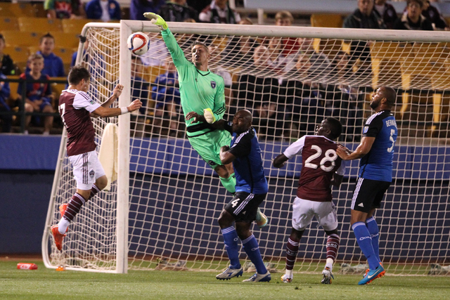 San Jose's goalkeeper David Bingham (1) goes up for the ball during their Major League Soccer game against Colorado at Cashman Field in Las Vegas Sunday, Feb. 15, 2015. San Jose won 2-0. (Erik Ver ...