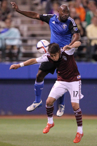 San Jose's Marvell Wynne (4) and Colorado's Dillon Serna (17) fight for possession during their Major League Soccer game at Cashman Field in Las Vegas Sunday, Feb. 15, 2015. San Jose won 2-0. (Eri ...