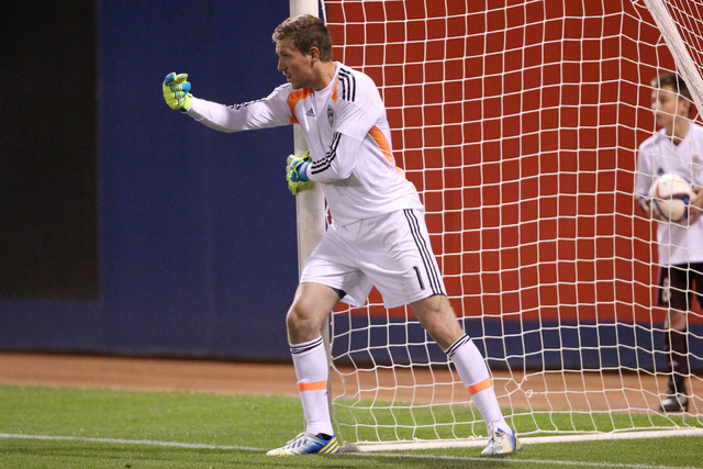 Colorado's goalkeeper Clint Irwin (1) directs his teammates for a free kick during their Major League Soccer game against San Jose at Cashman Field in Las Vegas Sunday, Feb. 15, 2015. San Jose won ...
