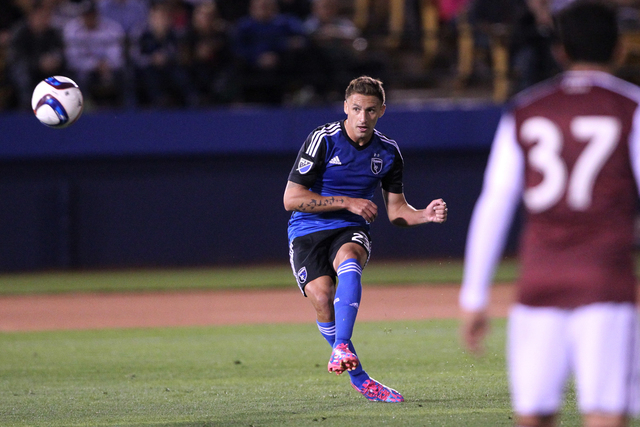 San Jose's Leandro Barrera (23) kicks a free kick during their Major League Soccer game against Colorado at Cashman Field in Las Vegas Sunday, Feb. 15, 2015. San Jose won 2-0. (Erik Verduzco/Las V ...