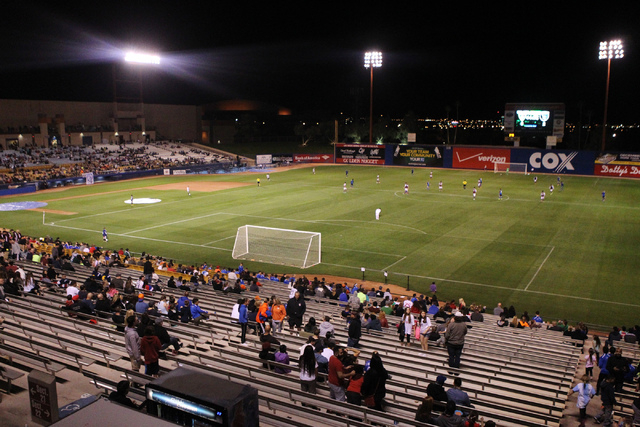 Fans watch a Major League Soccer game between San Jose and Colorado at Cashman Field in Las Vegas Sunday, Feb. 15, 2015. San Jose won 2-0. (Erik Verduzco/Las Vegas Review-Journal)