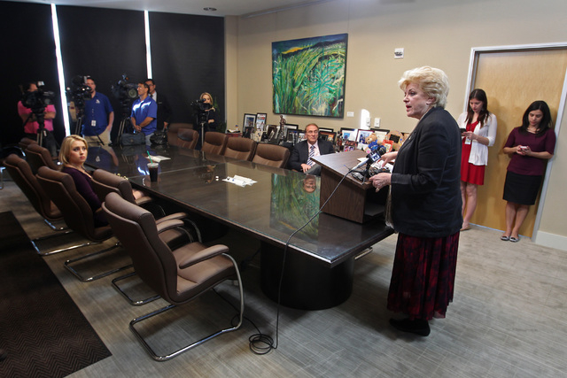 Las Vegas Mayor Carolyn Goodman speaks at a news conference to announce that Major League Soccer will not be awarding a franchise to Las Vegas Thursday, Feb. 12, 2015 at City Hall. (Sam Morris/Las ...