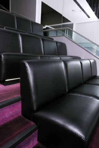 Rows of banquette-style seating are shown in a luxury suite mock-up at the MGM Resorts International-AEG arena sales center Wednesday, Jan. 28, 2015, in Las Vegas. The $375 million arena is schedu ...