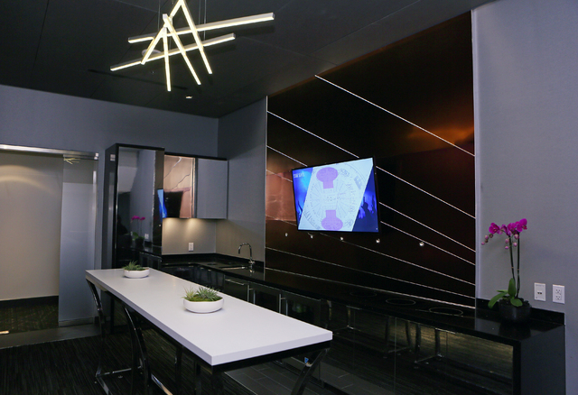 A 310-sq. ft. luxury suite mock-up is shown at the MGM Resorts International-AEG arena sales center Wednesday, Jan. 28, 2015, in Las Vegas. The $375 million arena is scheduled to open in April 201 ...