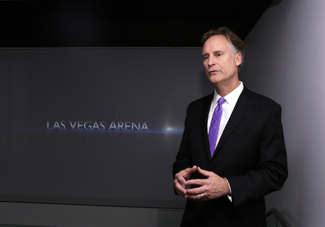 Mark Faber, senior vice president of global partnerships at AEG, speaks about luxury suites that are available during an interview at the MGM Resorts International-AEG arena sales center Wednesday ...