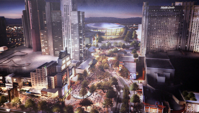 A rendering depicts the MGM-AEG arena that can be seen behind New York- New York hotel-casino and near Monte Carlo hotel-casino is shown at the MGM Resorts International-AEG arena sales center Wed ...