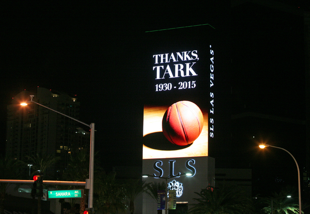 A tribute to Jerry Tarkanian is seen on the SLS Las Vegas marquee Monday, Feb. 16, 2015, in Las Vegas. Legendary UNLV basketball coach Jerry Tarkanian passed away Wednesday at Valley Hospital Medi ...