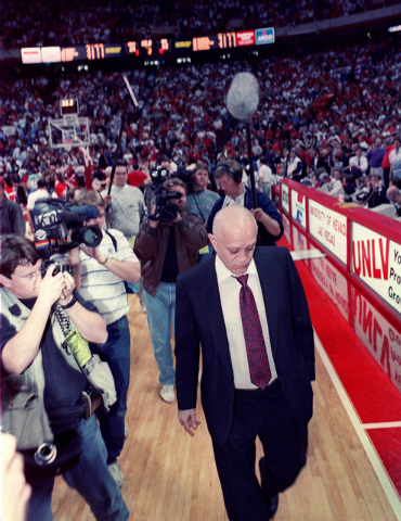 UNLV head basketball coach Jerry Tarkanian walks off the basketball court at Thomas & Mack Center for the last time as the Runnin' Rebels' coach March 4, 1992. (Jeff Scheid/Las Vegas Review-Journal)