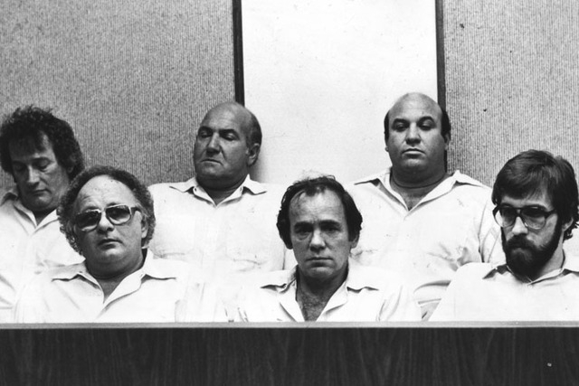 Hole in the Wall Gang, from left, Lawrence Neumann, Frank Cullotta, Joe Blasko, Leo Guardino, Ernie Davino and Wayne Matecki are shown during an appearance in Clark County District Court in this f ...