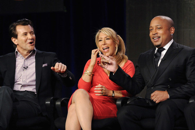 "Robert Herjavec, Lori Greiner and Daymond John take part in a panel discussion of ABC's reality series ""Shark Tank"" during the 2013 Winter Press Tour for the Television Critics Association in Pasa ..."