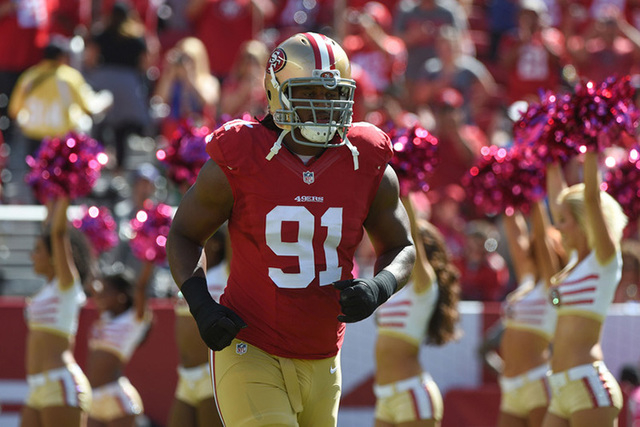 October 5, 2014; Santa Clara, CA, USA; San Francisco 49ers defensive end Ray McDonald (91) during player introductions before the game against the Kansas City Chiefs at Levi's Stadium. (Kyle Terad ...