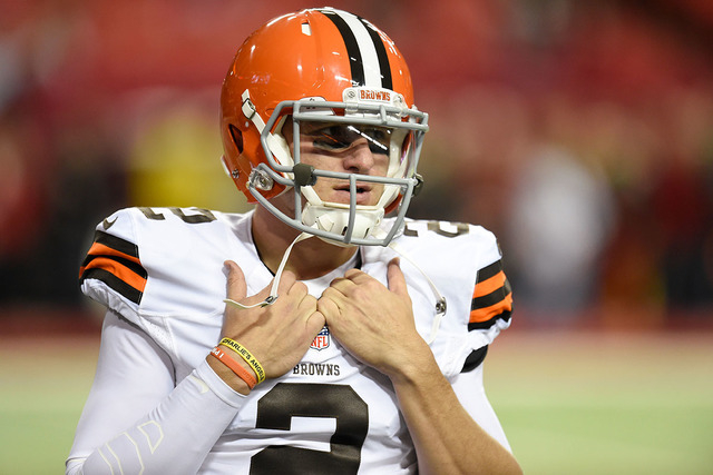 Nov 23, 2014; Atlanta, GA, USA; Cleveland Browns quarterback Johnny Manziel (2) on the field prior to the game against the Atlanta Falcons at the Georgia Dome. (Dale Zanine-USA TODAY Sports)