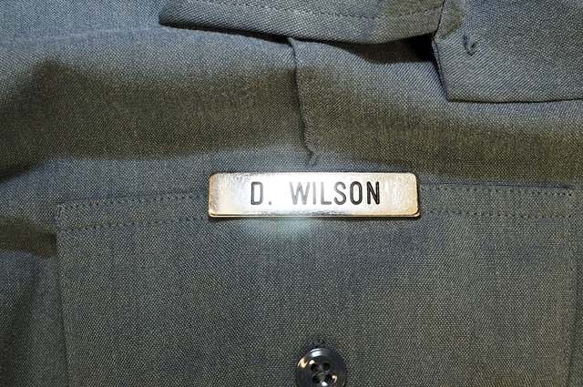 Officer Darren Wilson's name tag is pictured in this handout evidence photo from the August 9 Ferguson Police shooting of Michael Brown in Ferguson, released by the St. Louis County Prosecutor's O ...
