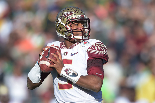 Jan 1, 2015; Pasadena, CA, USA; Florida State Seminoles quarterback Jameis Winston (5) looks to pass in the 2015 Rose Bowl college football game against the Oregon Ducks at Rose Bowl. (Kirby Lee-U ...