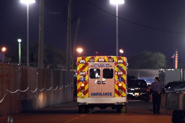 Feb 21, 2015; Daytona Beach, FL, USA; An ambulance carrying NASCAR Xfinity Series driver Kyle Busch (54) leaves the track after Alert Florida 300 at Daytona International Speedway. Mandatory Credi ...
