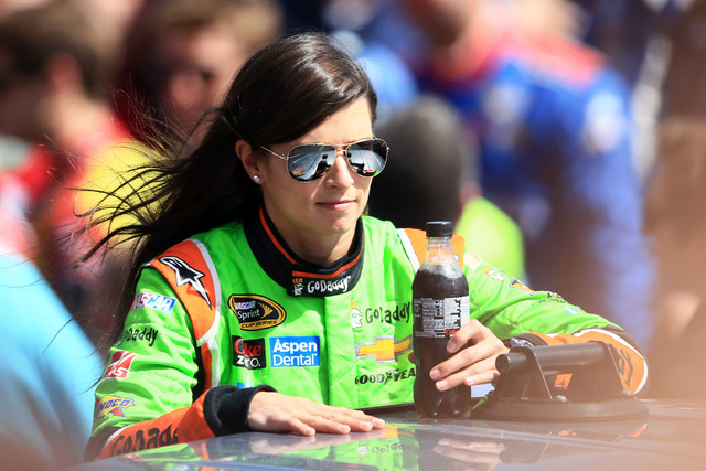 Feb 22, 2015; Daytona Beach, FL, USA; NASCAR Sprint Cup Series driver Danica Patrick (10) during driver introductions before the Daytona 500 at Daytona International Speedway. Mandatory Credit: An ...