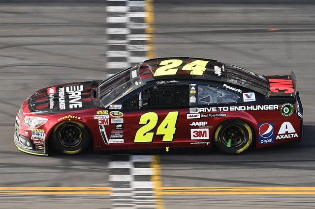 Feb 22, 2015; Daytona Beach, FL, USA; NASCAR Sprint Cup Series driver Jeff Gordon (24) during the Daytona 500 at Daytona International Speedway. Mandatory Credit: Jasen Vinlove-USA TODAY Sports