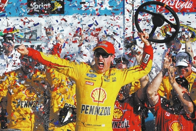 Feb 22, 2015; Daytona Beach, FL, USA; NASCAR Sprint Cup Series driver Joey Logano (22) celebrates winning the Daytona 500 at Daytona International Speedway. Mandatory Credit: Peter Casey-USA TODAY ...
