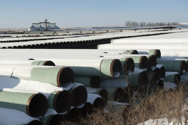 A depot used to store pipes for Transcanada Corp's planned Keystone XL oil pipeline is seen in Gascoyne, North Dakota November 14, 2014. (REUTERS/Andrew Cullen)