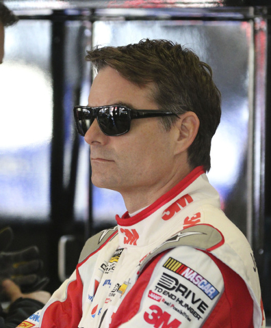 Feb 27, 2015; Hampton, GA, USA; Sprint Cup Series driver Jeff Gordon (24) during the practice for the Folds of Honor QuikTrip 500 at Atlanta Motor Speedway. Mandatory Credit: Marvin Gentry-USA TOD ...