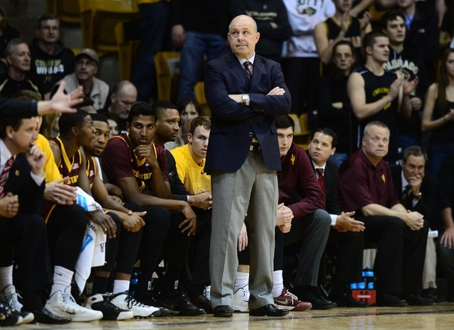 Mar 1, 2015; Boulder, CO, USA; Arizona State Sun Devils head coach Herb Sendek on his sidelines in the first half against the Colorado Buffaloes at the Coors Events Center. (Ron Chenoy-USA TODAY S ...