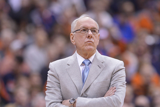 Syracuse Orange head coach Jim Boeheim watches the action during the second half of a game against the Virginia Cavaliers at the Carrier Dome, March 2, 2015, in Syracuse, N.Y. Virginia won the gam ...