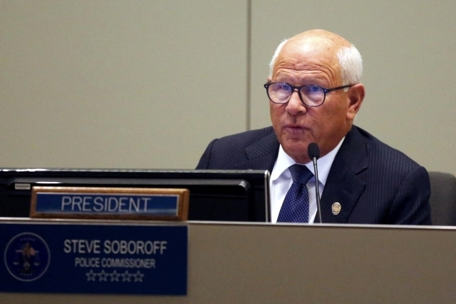 Police commissioner Steve Soboroff speaks at a police commission meeting attended by people protesting the killing of a homeless man by police in Los Angeles, March 3, 2015. Los Angeles police off ...