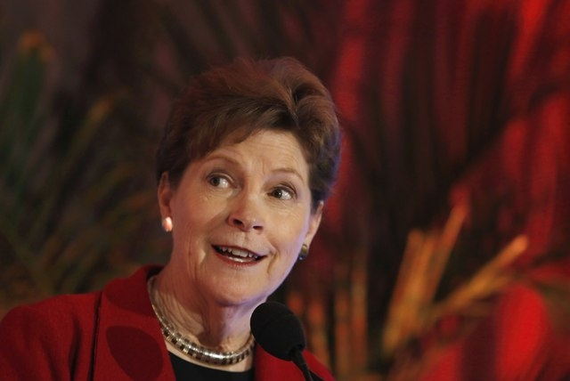 Senator Jeanne Shaheen (D-NH) speaks at EMILY's List 30th Anniversary National Conference in Washington March 3, 2015. REUTERS/Yuri Gripas