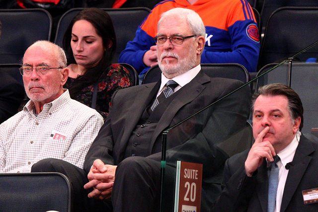 New York Knicks president Phil Jackson watches during the second quarter against the Sacramento Kings at Madison Square Garden in New York City, March 3, 2015. (Brad Penner-USA TODAY Sports)