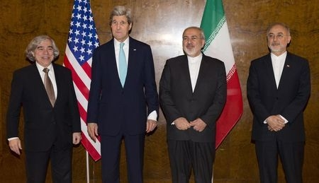 Secretary of State John Kerry, second left, meets his Iranian counterpart Mohammad Javad Zarif, second right, for a new round of nuclear negotiations in Montreux, Switzerland, Tuesday, March 2, 20 ...