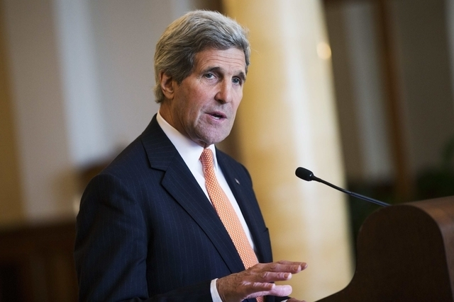 Secretary of State John Kerry delivers remarks in Montreux, Switzerland, Wednesday, March 4, 2015. Significant gaps and important choices remain in talks on Iran's nuclear programme, Kerry said ,  ...