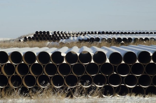 A depot used to store pipes for Transcanada Corp's planned Keystone XL oil pipeline is seen in Gascoyne, North Dakota in this file photo taken on November 14, 2014. (REUTERS/Andrew Cullen)