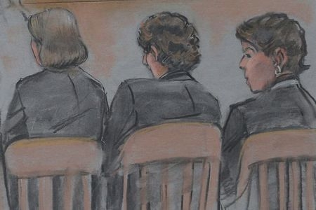 A courtroom sketch shows accused Boston Marathon bomber Dzhokhar Tsarnaev, center, sitting with his attorneys on the first day of his trial at the federal courthouse in Boston, Wednesday, March 4, ...
