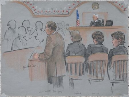 A courtroom sketch shows Assistant U.S. Attorney William Weinreb, left, delivering his opening statement in the trial of accused Boston Marathon bomber Dzhokhar Tsarnaev, second right, at the fede ...